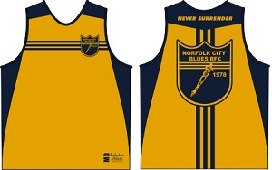 NORFOLK BLUES RUGBYSKINS RUGBY TANK 2018 Gold