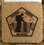 WANDERING WARRIOR SQUARE CORK COASTER