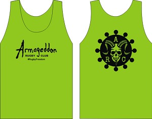 Armageddon Rugby Club Logo Wicking  Tank Lime